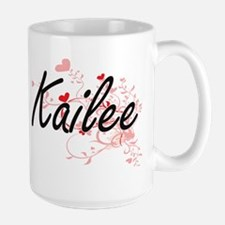 Kailee Artistic Name Design with Hearts Mugs