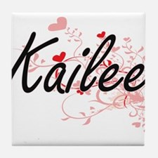 Kailee Artistic Name Design with Hear Tile Coaster