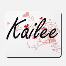 Kailee Artistic Name Design with Hearts Mousepad