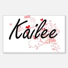 Kailee Artistic Name Design with Hearts Decal