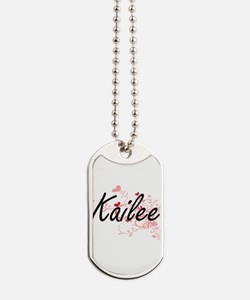 Kailee Artistic Name Design with Hearts Dog Tags