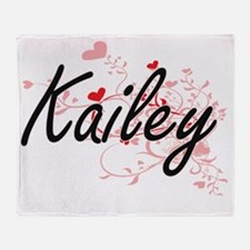 Kailey Artistic Name Design with Hea Throw Blanket