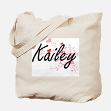 Kailey Artistic Name Design with Hearts Tote Bag