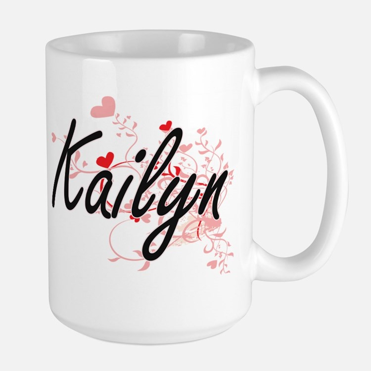 Kailyn Artistic Name Design with Hearts Mugs