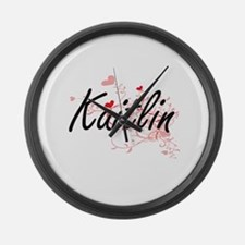 Kaitlin Artistic Name Design with Large Wall Clock