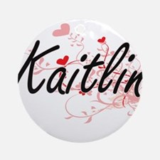 Kaitlin Artistic Name Design with Ornament (Round)