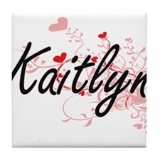 Kaitlyn Artistic Name Design with Hea Tile Coaster