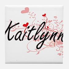 Kaitlynn Artistic Name Design with He Tile Coaster