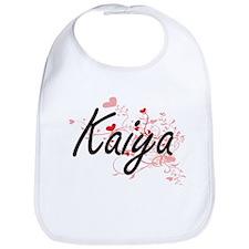 Kaiya Artistic Name Design with Hearts Bib