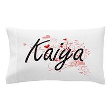 Kaiya Artistic Name Design with Hearts Pillow Case