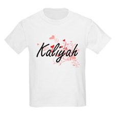 Kaliyah Artistic Name Design with Hearts T-Shirt