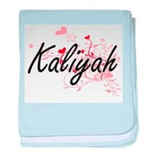Kaliyah Artistic Name Design with Hea baby blanket