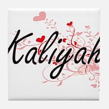Kaliyah Artistic Name Design with Hea Tile Coaster