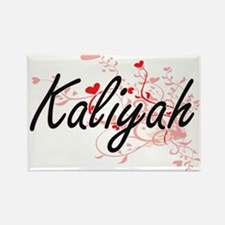 Kaliyah Artistic Name Design with Hearts Magnets