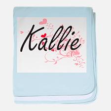 Kallie Artistic Name Design with Hear baby blanket