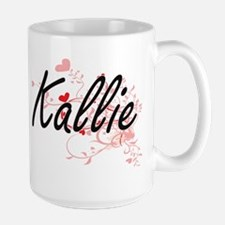 Kallie Artistic Name Design with Hearts Mugs