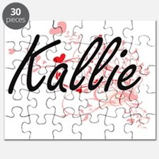 Kallie Artistic Name Design with Hearts Puzzle