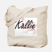 Kallie Artistic Name Design with Hearts Tote Bag