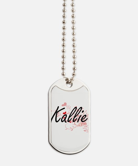 Kallie Artistic Name Design with Hearts Dog Tags