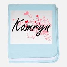Kamryn Artistic Name Design with Hear baby blanket