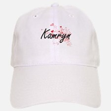 Kamryn Artistic Name Design with Hearts Baseball Baseball Cap