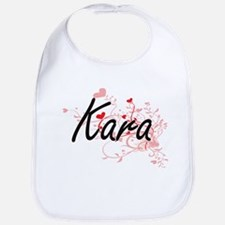 Kara Artistic Name Design with Hearts Bib