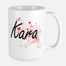 Kara Artistic Name Design with Hearts Mugs