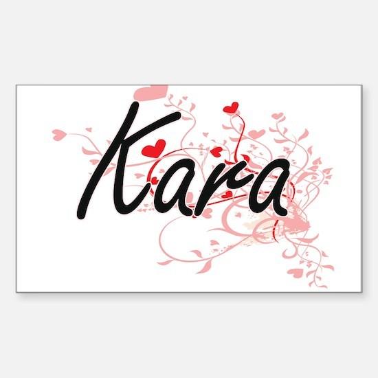 Kara Artistic Name Design with Hearts Decal