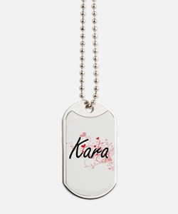 Kara Artistic Name Design with Hearts Dog Tags