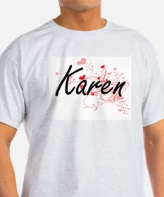 Karen Artistic Name Design with Hearts T-Shirt