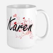 Karen Artistic Name Design with Hearts Mugs