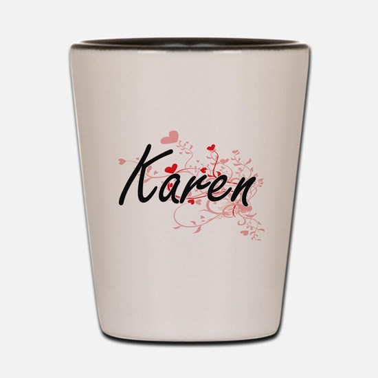 Karen Artistic Name Design with Hearts Shot Glass