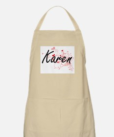 Karen Artistic Name Design with Hearts Apron