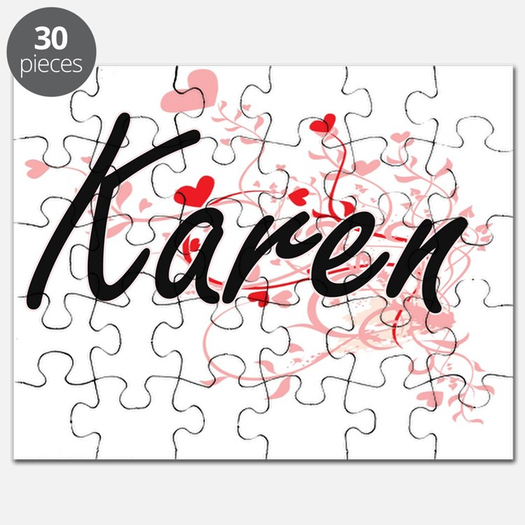 Karen Artistic Name Design with Hearts Puzzle