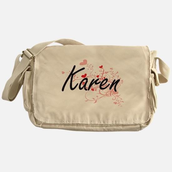 Karen Artistic Name Design with Hear Messenger Bag