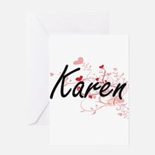 Karen Artistic Name Design with Hea Greeting Cards