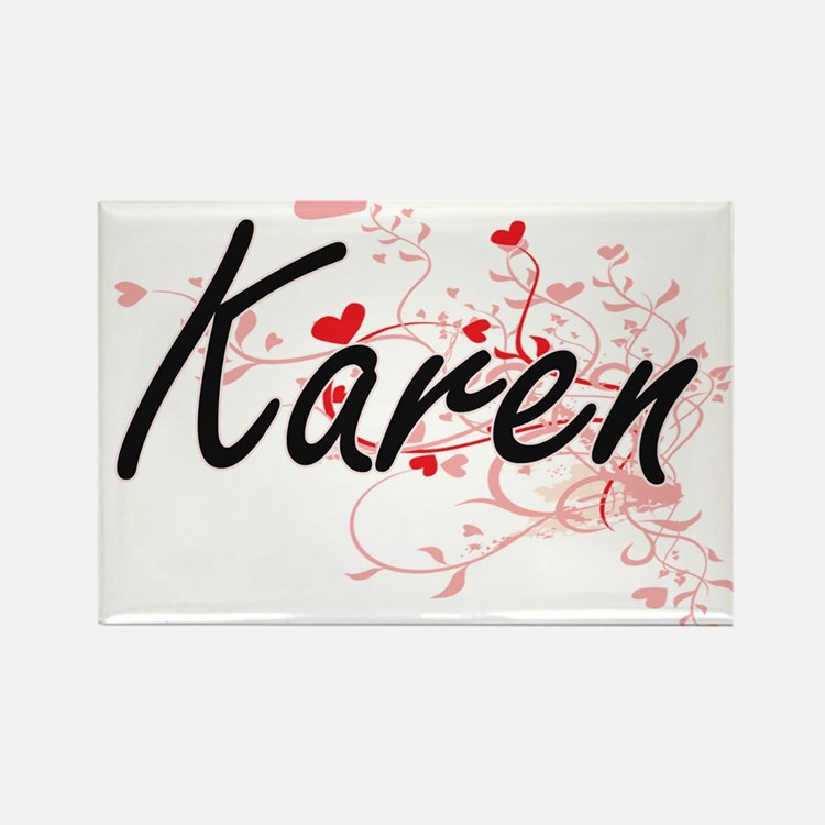 Karen Artistic Name Design with Hearts Magnets