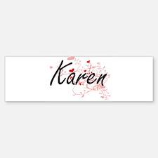 Karen Artistic Name Design with Hea Bumper Bumper Bumper Sticker