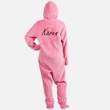 Karen Artistic Name Design with Hea Footed Pajamas