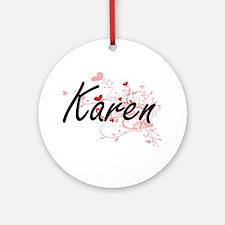 Karen Artistic Name Design with H Ornament (Round)