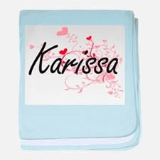Karissa Artistic Name Design with Hea baby blanket