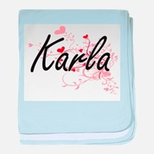 Karla Artistic Name Design with Heart baby blanket