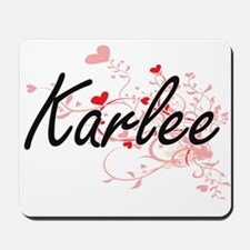 Karlee Artistic Name Design with Hearts Mousepad