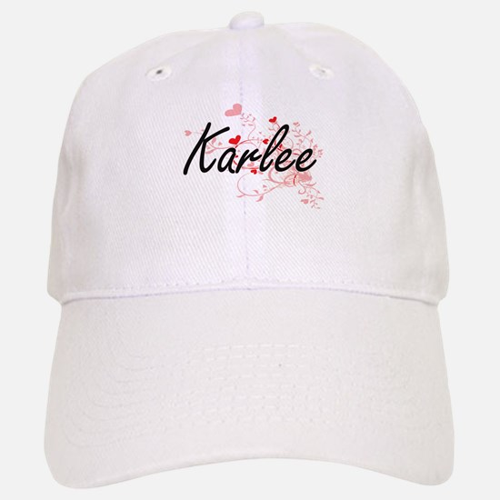 Karlee Artistic Name Design with Hearts Cap