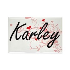 Karley Artistic Name Design with Hearts Magnets