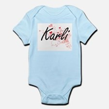 Karli Artistic Name Design with Hearts Body Suit