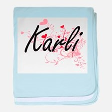 Karli Artistic Name Design with Heart baby blanket