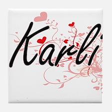 Karli Artistic Name Design with Heart Tile Coaster