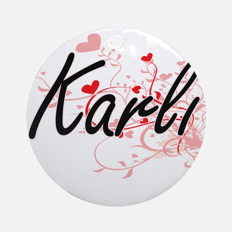 Karli Artistic Name Design with H Ornament (Round)