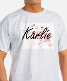 Karlie Artistic Name Design with Hearts T-Shirt
